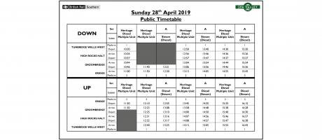 Amended Timetable - Sunday 28th April 2019